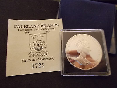 1993  Falkland Islands Silver Proof Anniversary Coronation Crown (50p)