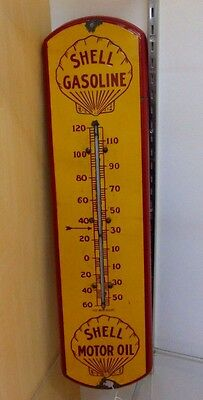 Rare Original 1915 Golden Shell Gas Oil Porcelain Thermometer Gas Station