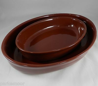 "PV01734 Set of 2 Mystery Brown Oval Stoneware Bakers 11"" (#39) and 14"" (#42)"
