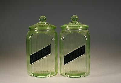 Set of 2 Vintage Hocking Glass Green Ribbed Glass Top Canisters 47 oz c.1930