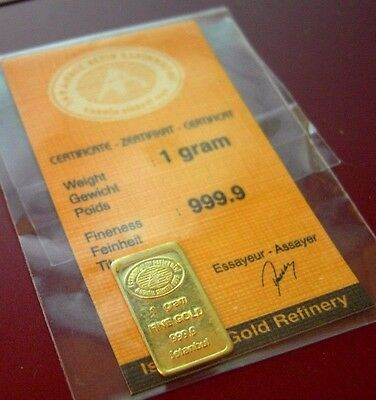 1 gram 999.9 Istanbul Gold Bar. Still sealed from the mint.
