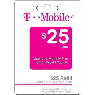 $25 T-Mobile pre-paid refill card