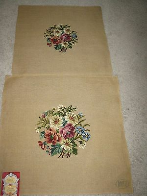 Nwt Pair Of Unfinished Vintage Needlepoint Chair Covers. Or Pillows
