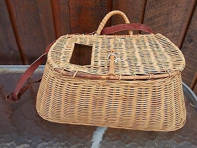 Vintage  Fishing Creel Made of Wicker