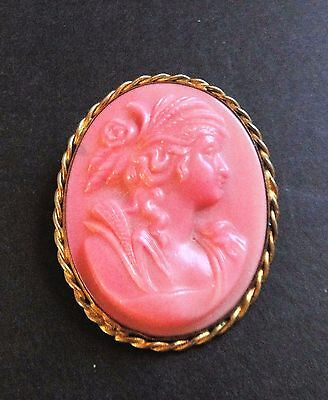 Antique Coral Pink Cameo with C Clasp Plastic Celluloid, Bakelite