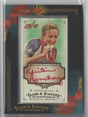 2009 Kristin Armstrong Allen & Ginter FRAMED RED INK Auto #'D 03/10 AGA-KA READ