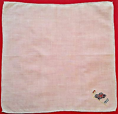 "Vintage Embroidery The Union Jack Great Britain 1937 Cotton 11"" Handkerchief"