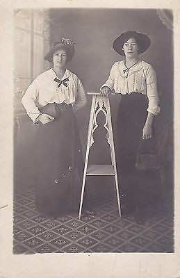 Antique RPPC: Two Young Ladies, Beautiful Outfits, Hats - Fashion/Social History