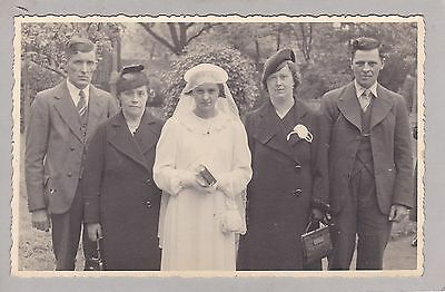 Vintage Real Photo PC - Young Lady, Girl - Family - Communion - Dress, Veil