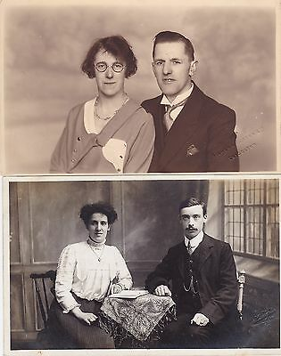 Two Antique Real Photo PCs - Couples, Leicester Photographers, Social History