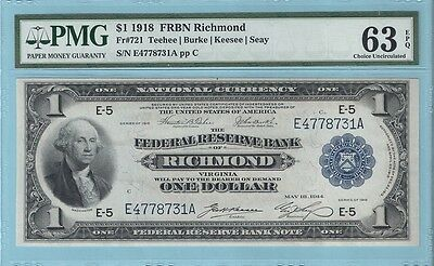 1918 Fr 721 (EA Block) $1 Richmond Federal Reserve Bank Note