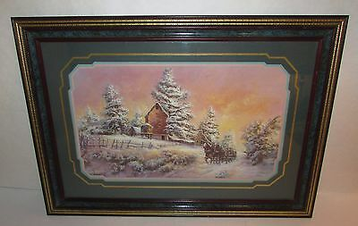 24 x 17 Lee Parkinson Winter Farm Horse Drawn Sleigh Framed Print Home Interiors