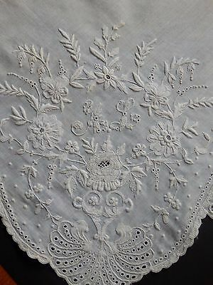 Antique Linen Hand Embroidered Handkerchief Monogrammed Museum Collection