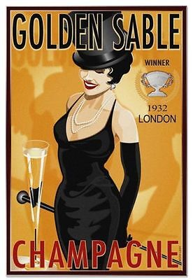 Golden Sable Champagne Vintage Alcohol Metal Tin Sign Poster Wall Plaque