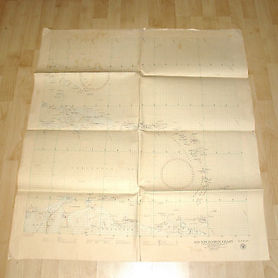 Post Ww2 1946 Aeronatical Air Navigation Chart Navy Map Carribean Puerto Rico