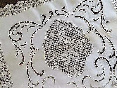 Antique Linen Handmade Lace Filet Madeira Insert Tablecloth Runner Dresser Scarf