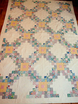 "Antique Vintage Double Irish Chain pattern quilt 65"" x 88"" very pretty colors"