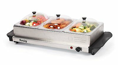 Kenley 3in1 Buffet Server Hot Tray Food Plate Warmer - 3 Trays x 1.5L - Stainles