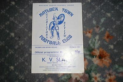 Programme Matlock Town  v Mossley 1983