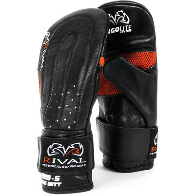 Rival Boxing RB5 Cowhide Leather Punching Bag Mitts - Black