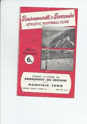 Bournemouth Home v Mansfield Town Football Programmes 1963/64