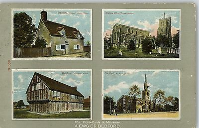 Postcard Multiview Four Views of Bedford 1909