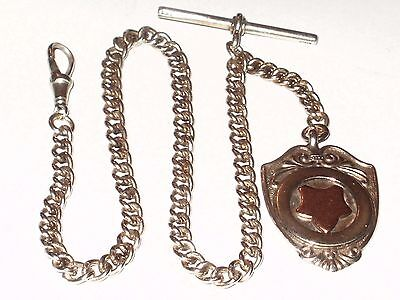 Antique Heavy English Sterling Silver Pocket Watch Chain  & Fob, Links Stamped