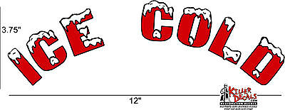 """12"""" Arched Red Ice Cold Soda Coca Cola Pepsi Cooler Decal Sticker"""