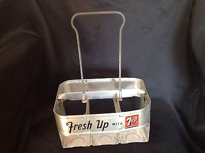 Vintage aluminum metal 7UP Carrier Case six pack.   Fresh up with 7-up