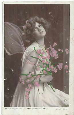 Edwardian Actress Gabrielle Ray With Angel Wings 1906 Real Photo Postcard