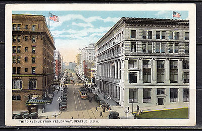 Seattle, WA, Third Avenue From Yesler Way, Street Cars, 1926