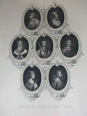 Tallis Kings England Coin Antique Print 19 Cent Canute Harold William