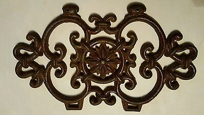 Antique Ornate and Decorative Architectural Cast Iron Scrollwork Panel / Plaque