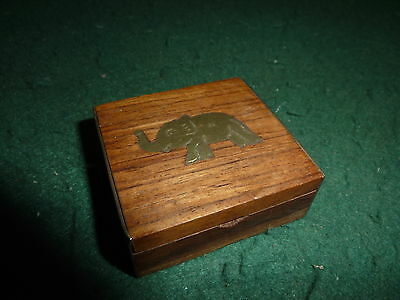 Small 50mm Wooden Pill Trinket Box with Inlaid Brass Elephant
