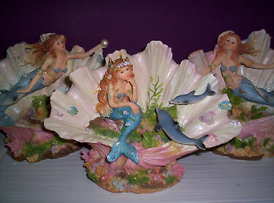 Exquisite Large Mermaid And Dolphin Clam Shell Figurine Ornament Bnib New