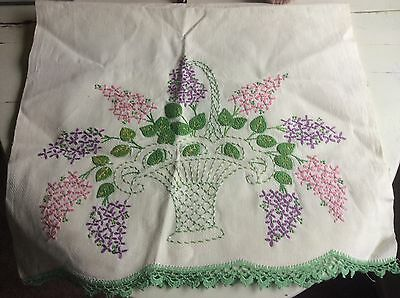 Vintage Hand Embroidered Kitchen Towel w/Crocheted edge