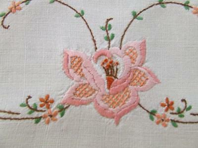 Gorgeous Hand Embroidered Centre Doily - Pink Stylised Florals - Crocheted Edge