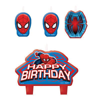4 Amazing Spiderman Happy Birthday Cake  Cupcake Candles Superhero Marvel Party