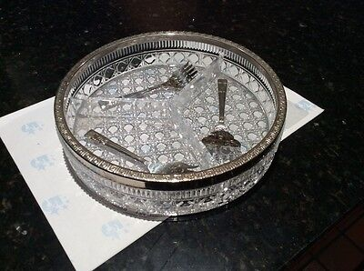Retro Cut glass horderves dish with 3 serving forks silver plated
