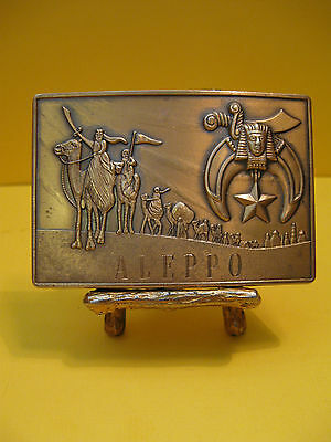 Vintage Mint Solid Bronze Shriners Masonic Aleppo Belt Buckle