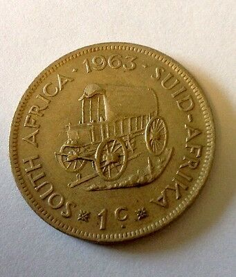 1963 South African 1c Coin. Circulated State. Collectable!!
