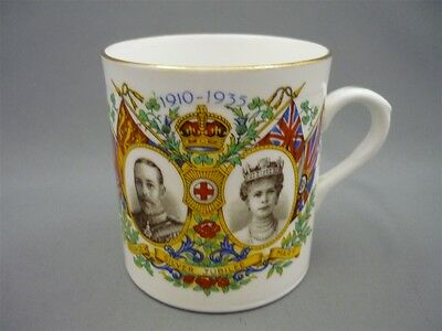 Vintage Royalty 1935 Silver Jubilee King George V Queen Mary Mug Cup Diamond