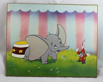 """Vintage Disney Dumbo and Timothy Mouse Art Print on Particle Board 8""""x10"""""""