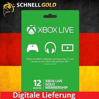 12 Monate Xbox 360 & One Live Gold Mitgliedschaft Karte - 12 Month Key Card