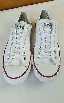 Mens Converse All Star flats canvass shoes trainers size 9 eur 42.5 white