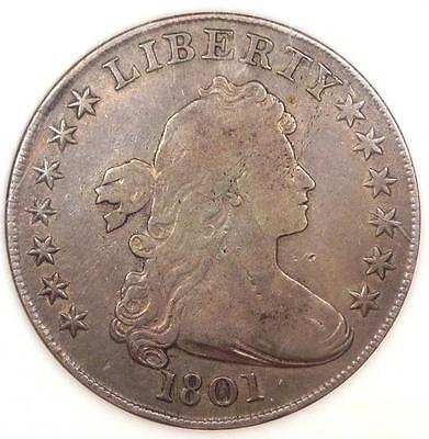 1801 Draped Bust Silver Dollar $1 - Fine Details - Rare Coin!