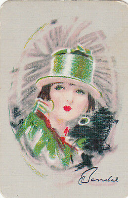 1 Playing Swap Card Vintage Lovely Lady In Green Miniature
