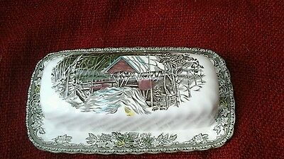 "johnson brothers england, butter dish,""friendly village"" design"