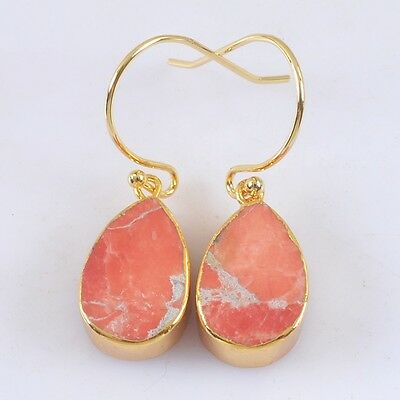 Teardrop Gold Plated Red Howlite Turquoise Earrings T021306