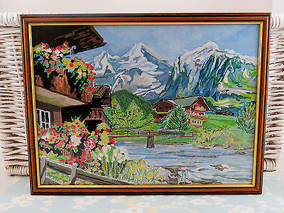 """Vintage Framed Complete Painting By Numbers Alps Snow Covered Mountains 16x13"""""""